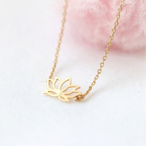 Gold Plated Origami Lotus Flower Necklace Souq Uae