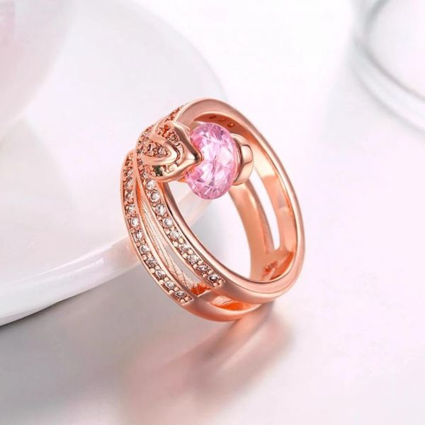 9c0dfdd560 Ring for women and girls snake shape with pink swarovski stones size ...