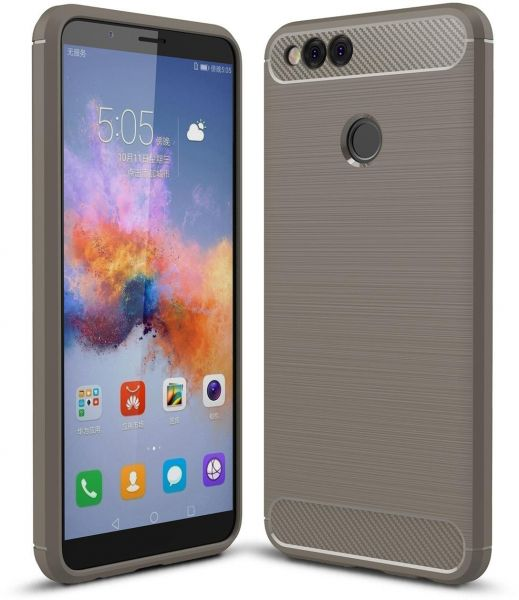Huawei Honor 7X Carbon Fiber TPU Gel Slim Lightweight Case Cover -Grey