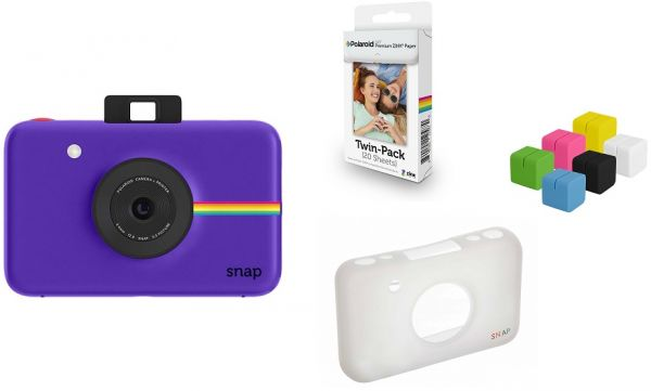 Polaroid Snap Instant Camera Purple Zink Paper 20 Sheets Cube Stand 6 Colors Skin
