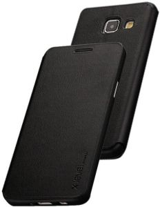 X-level FibColor Leather Flip Case Cover with Screen Protector for Samsung Galaxy A5 (2016) A510F in Black