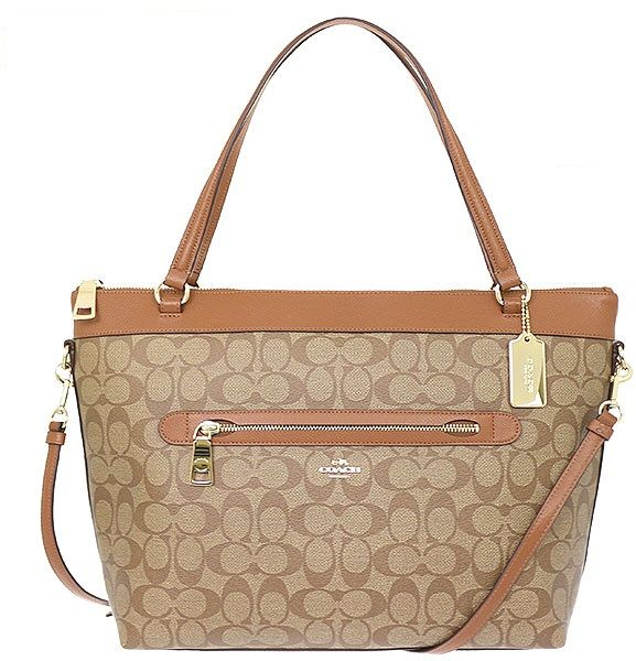 the best attitude db829 49c40 COACH F54690 TYLER TOTE IN SIGNATURE IMITATION GOLD/KHAKI/SADDLE