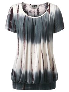 9540d6cf3c DJT Women s Short Sleeve Pleated Front Blouse Tunic Top Small Tie Dye Coffee