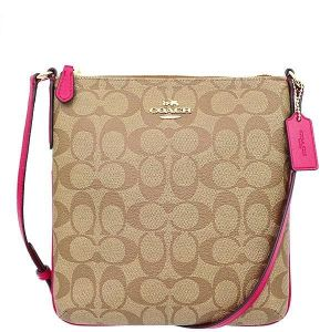 0012b9fdf8 COACH NORTH SOUTH CROSSBODY IN SIGNATURE IMITATION GOLD KHAKI BRIGHT PINK -  F58309