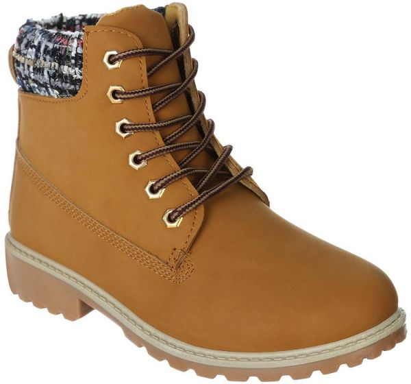 Toobaco Camel Lace Up Boot For Women