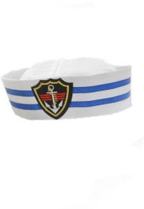 e8c66aeab6c Adults and kids sailor navy blue stripes boat costume hat cap with anchor  graphic patch