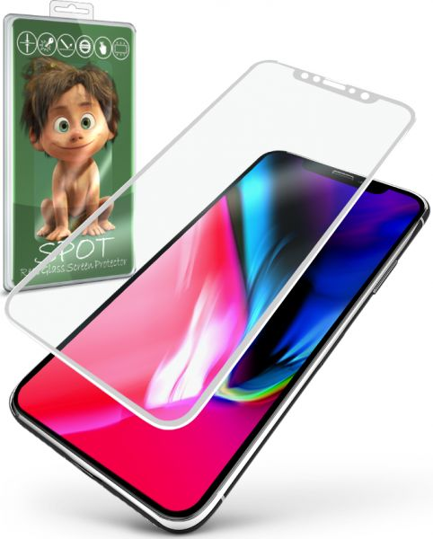Spot Curved Glass Screen Protector for Iphone X - White | Souq - UAE