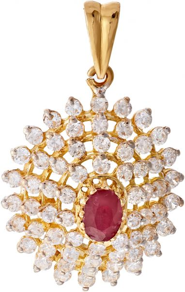 Buy kyra 22k yellow gold cz pendant with ruby stone pendants kyra 22k yellow gold cz pendant with ruby stone aloadofball Images