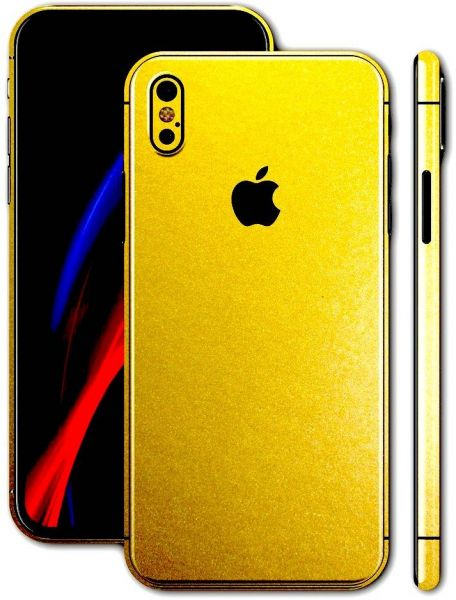new style 15219 4cd30 apple iphone x full body glossy gold sticker wrap skin Price in ...