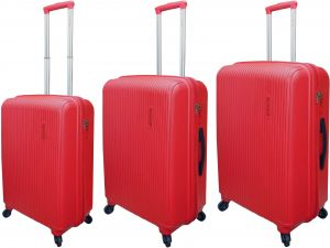 cb5326db96671 HIGHFLYER Pinot 3 PC Unbreakable Expandable Travel Luggage Hard Trolley Bags  Set - Red
