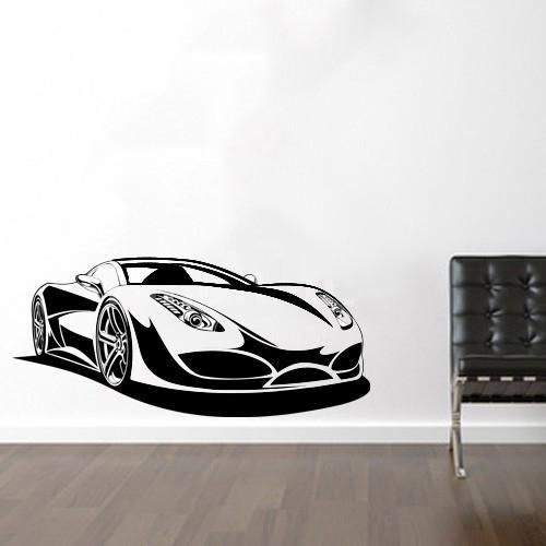 sports car wall decals for living room, home decor, waterproof wall