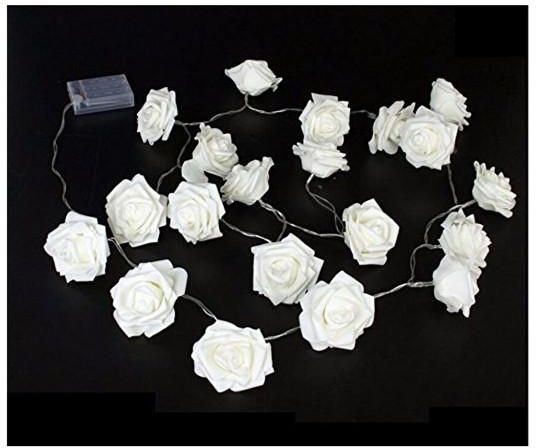 2m 20 Led Battery Operated Rose Flower String Fairy Lights Warm