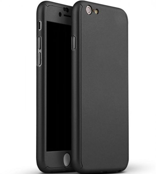 the best attitude 431aa 179e3 Iphone 8 Plus / Iphone 7 Plus case 360 Degree 3 pieces Silicon products  front and back And Screen Protector - Black