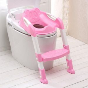 Baby Toddler Kids Potty Toilet Training Safety Adjustable Ladder Seat Chair Step (Pink)