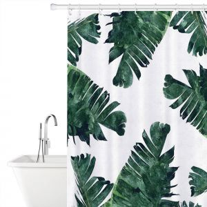 183x183cm Fashion Vitality Banana Leaf Polyester Bathroom Shower Curtain With Hooks Home Decorative Waterproof Mould Proof