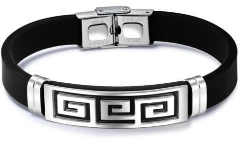 Cly Men S Silicone Bracelet With Great Wall Patten