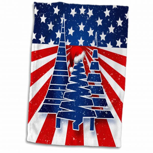 5725d350216c1 3dRose Doreen Erhardt Patriotic - Stars and Stripes Christmas Trees with Santa  Hat in Red White and Blue - Towel 15