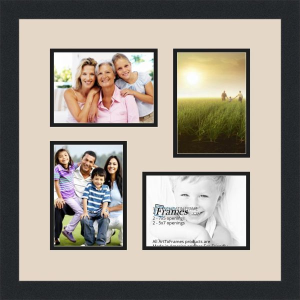 Arttoframes Collage Photo Frame Double Mat With 4 Openings And Satin