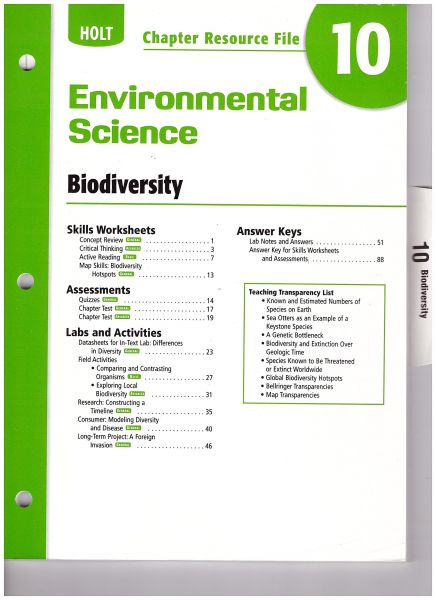 Souq Holt Environmental Science Chapter Resource File Chapter 10