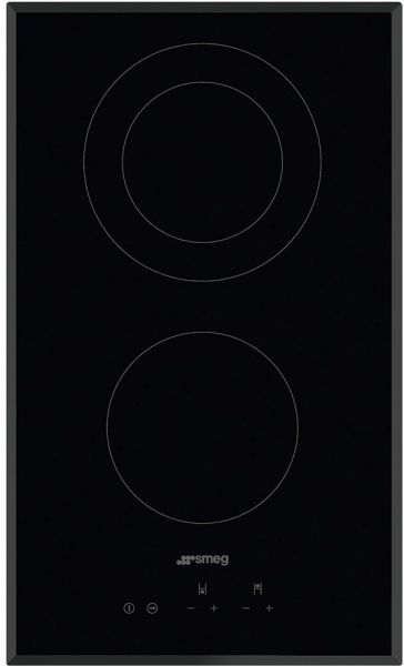 Smeg 30cm Touch Control Ceramic Hob 2 Highlight Radiant Zones With Angeled Edge Glass SE332EB