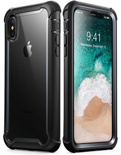 Iphone X case, i-Blason Ares Full-body Rugged Clear Bumper Case with  Built-in Screen Protector Black