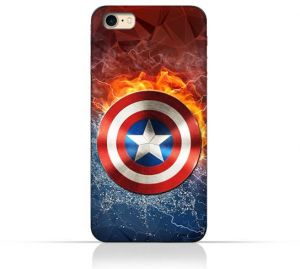 Iphone 8 TPU Silicone Protective Case with Shield of Captain America Design