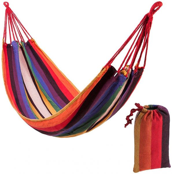 Camp Sleeping Gear Sports & Entertainment Popular Brand Portable Outdoor Garden Hammock Hang Bed Travel Camping Swing Canvas Stripe