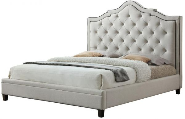 Clarissa King Size Upholstered Bed in Oat White. | Souq - UAE