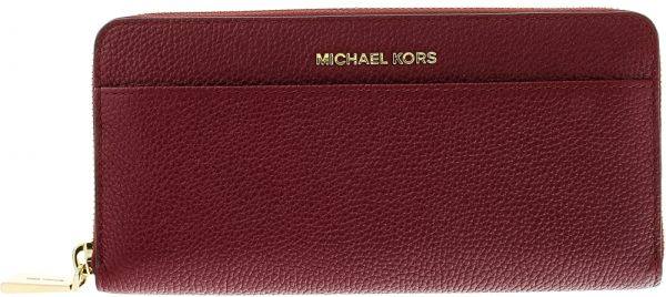 1311b04688c1 Michael Kors Mercer Continental Zip Around Wallet for Women, Leather -  Burgundy