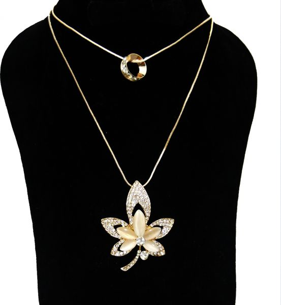Womens elegant 18k gold plated pendant necklace leaf pendant gold womens elegant 18k gold plated pendant necklace leaf pendant gold color beige gemstone 90 cmdar0061 aloadofball Image collections