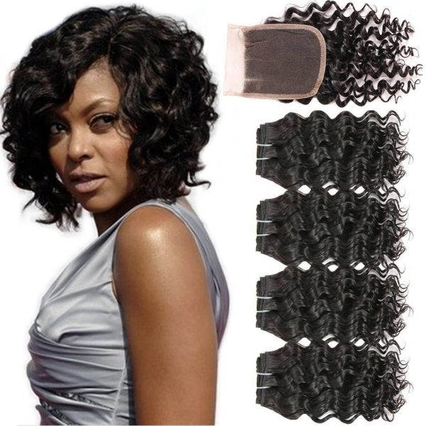 8A Brazilian Deep Wave with Closure Short 8 Inch Unprocessed Virgin Human Hair  Bundles Deep Culry 4 Bundles with Three Part Lace Closure Full Head  759fec2d3e