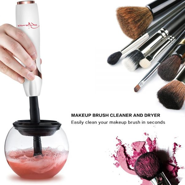 Makeup Brush Cleaner Kit in Seconds to Clean Makeup Brushes and Dry in 360 Rotation with 8 Rubber Collars for All Makeup Brushes Cleaning By Rejawece | Souq ...