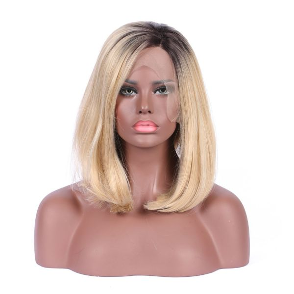 Estelle Hair Natural Looking Ombre Black To Blonde Bob Wig-Short Synthetic  Lace Front Wigs-100% Heat Resistant Fiber Hair-With Combed Cap Style For  Easier ... 628a1acba