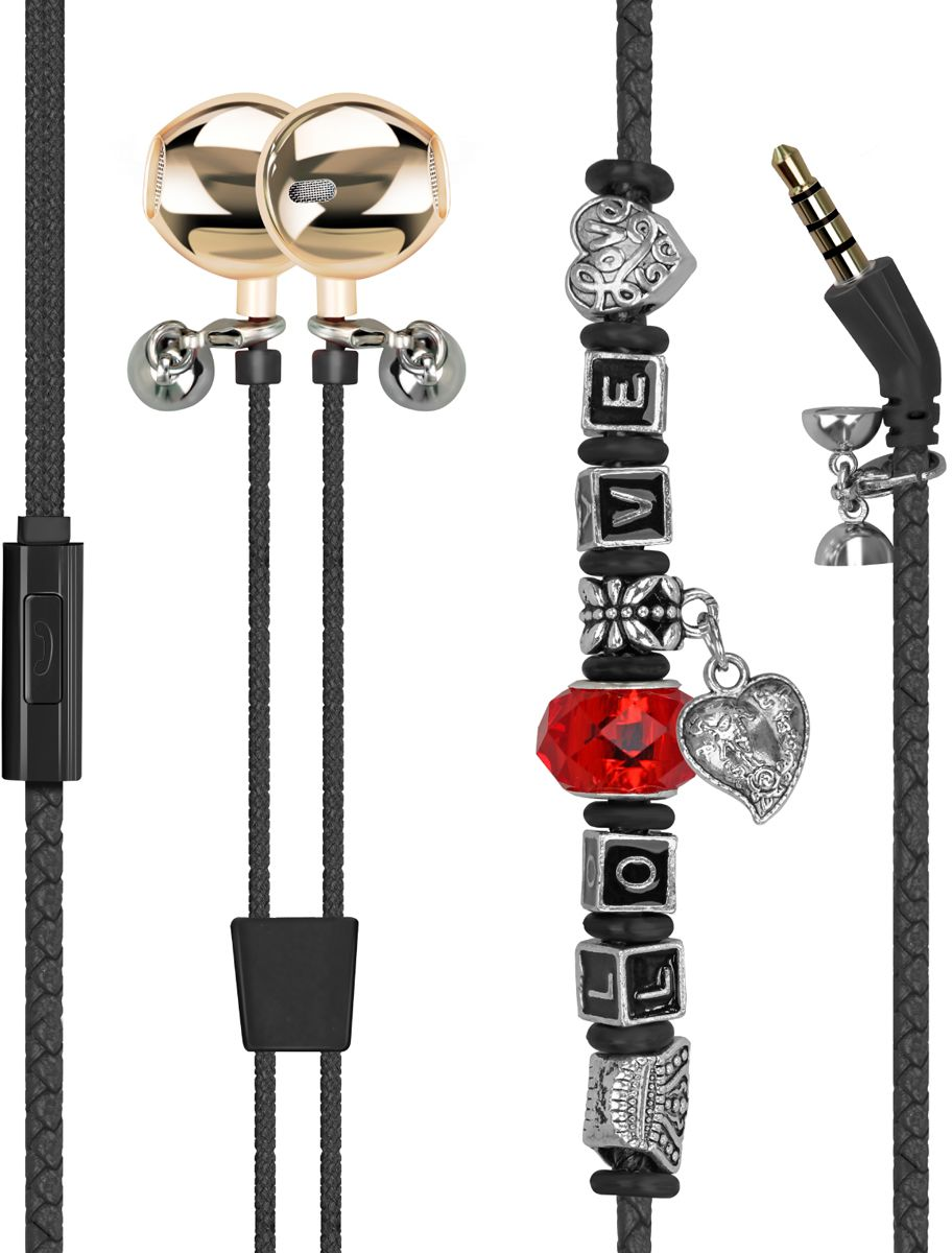 Promate Earphones, Leather Braided Bracelet In-Ear Headphones with Pandora Beads, Built-In Mic, Magnetic Lock and Noise Isolating for iPhone, iPod, iPad, Sports, Samsung, Vogue-3 Black