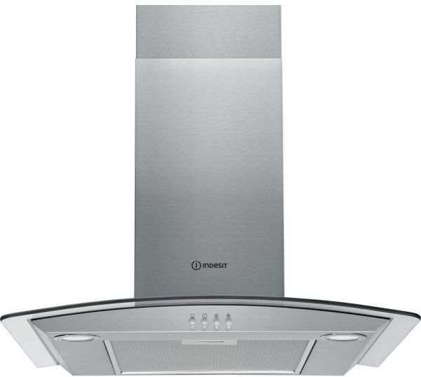 Wonderful Indesit 60 Cm Built In Chimney Hood Decorative Design Curved Glass  Stainless Steel Finish With Aluminium Filters IHGC 6.4AMX