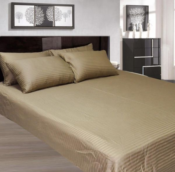 Lovely Souq | Bronze King Size 200 X 200 + 30 Cm Hotel Linen Fitted Bed Sheet |  Oman