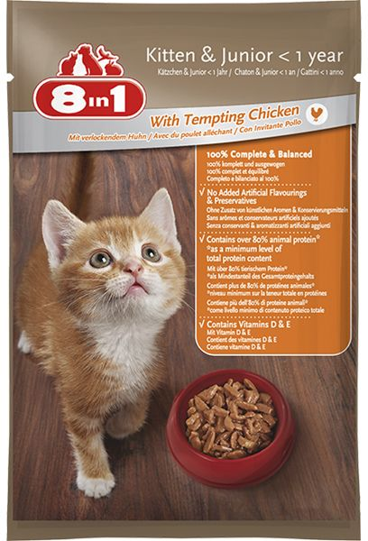 8in1 Pack Of 12 Wet Food With Tempting Chicken For Kittens Junior