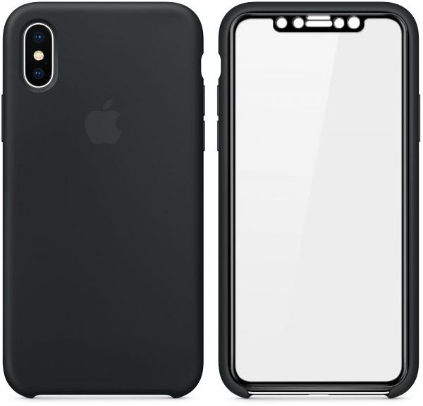 Apple Iphone X Silicone Back Case - Black Mmwf2Zm A With Screen 3D ... 73c5accecf