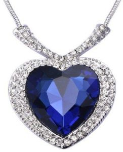 18k white Gold Plated Necklace swarovski Elements Blue Austrian Crystal exquisite big Titanic Heart of the Ocean pendant Necklace jewelry
