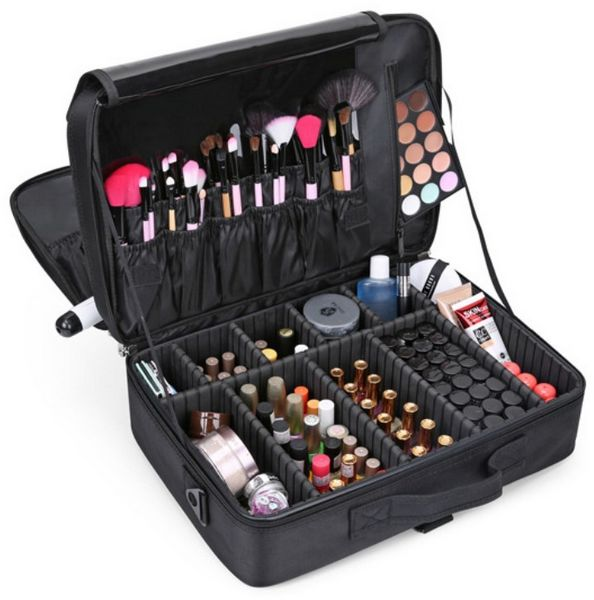 Professional storage partition cosmetic box three waterproof layer travel makeup bag-black | Souq - UAE