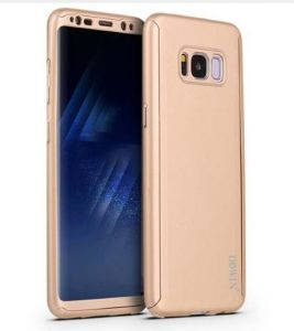 DOWIN Fashion 360 Full Body Protection Case + PET Clear Screen Film For Samsung S8 Cover Ultra thin Hard PC Shockproof Armor Phone Cases- GOLD