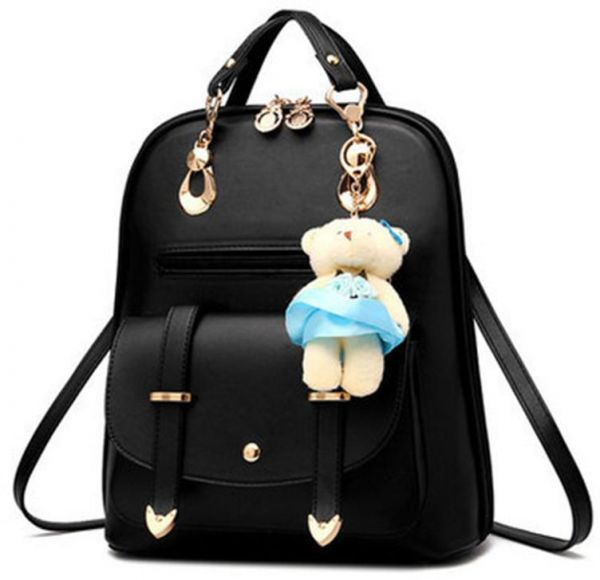 ebab1b583427 Women s Backpack Purse Pu Leather Ladies Casual Shoulder Bag School Bag for  Girls-Black
