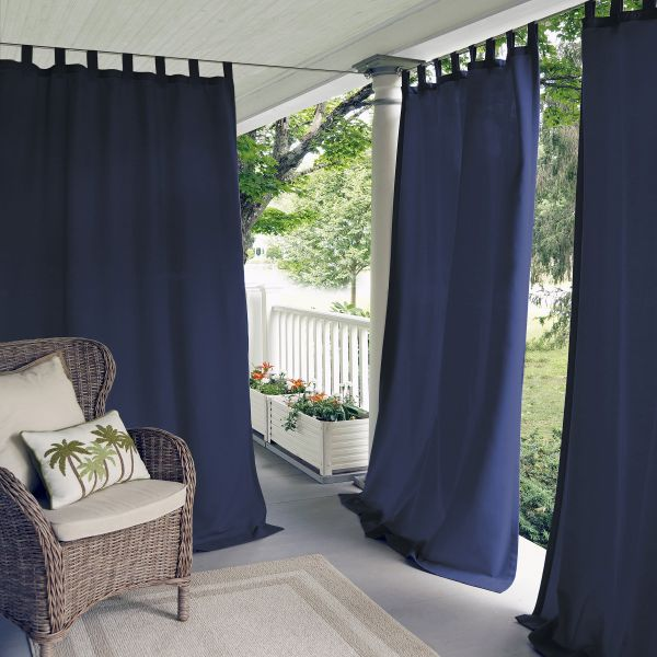 Elrene Home Fashions 026865643039 Indoor Outdoor Solid Tab Top