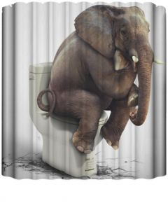 Cartoon Printed Elephent Polyester Shower Curtain Waterproof Home Bathroom Curtains 3D Thicken