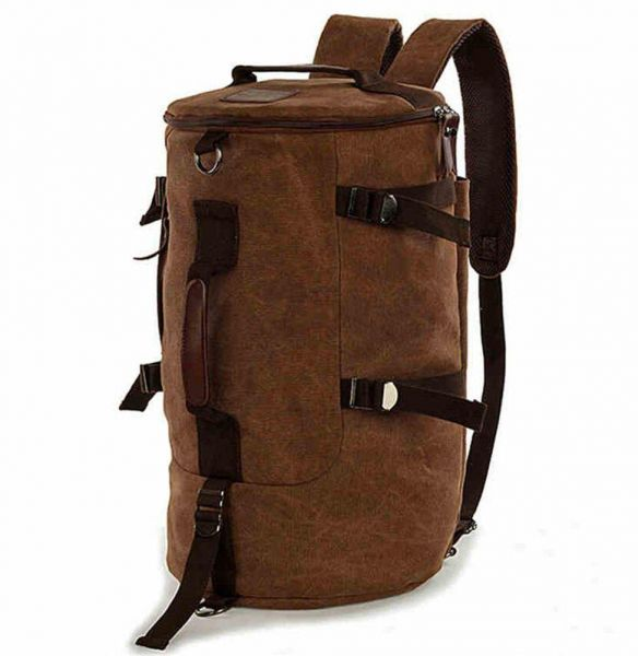 b7a3cb55f18f Men women Fashion Big Cylindrical backpack Canvas Leisure Travel Bag  computer bag School