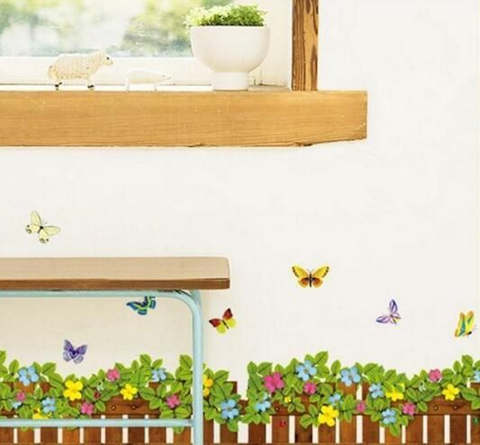 butterfly flower fence wall stickers bedroom living room decorative