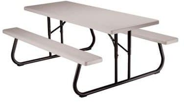Folding Plastic Picnic Bench Table Set Putty 6 Ft