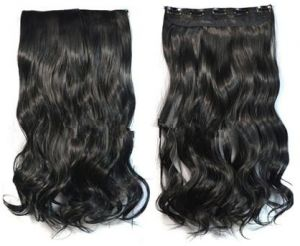 women black color synthetic 5 clips hair extension 02d08b6cce