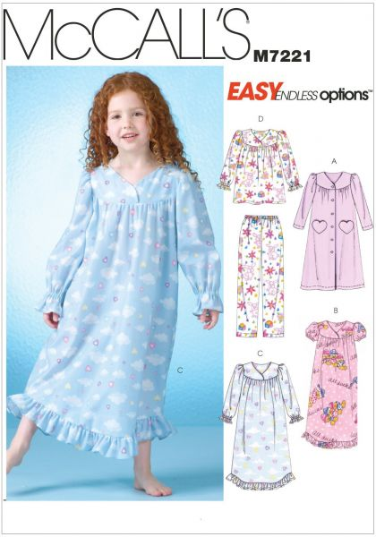 mccall s patterns m7221 children s girls robe gowns top and pants