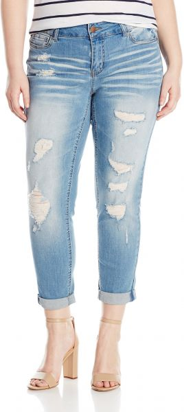 3cc004f6e71 dollhouse Women s Plus Size Destructed Roll up Skinny Jeans